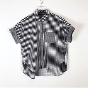 Madewell | black and white gingham top size M